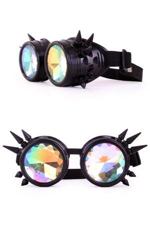 Steampunk goggles bril kaleidoscoop zwart spikes