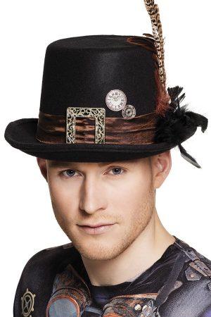 Steampunk hoed veren
