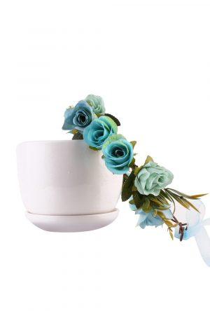 Bloemenkrans blauwe roosjes rozenkrans