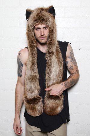 Bruine Wolf Hood muts