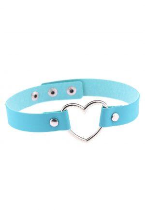 Choker blauw leer hartje halsband ketting1