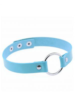 Choker blauw leer ring halsband ketting