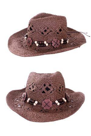 Cowboy Ibiza hoed met houten kralen