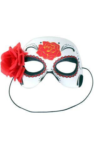 Day of the Dead oogmasker met roos