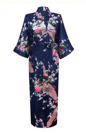 Donkerblauwe Japanse Kimono Yukata