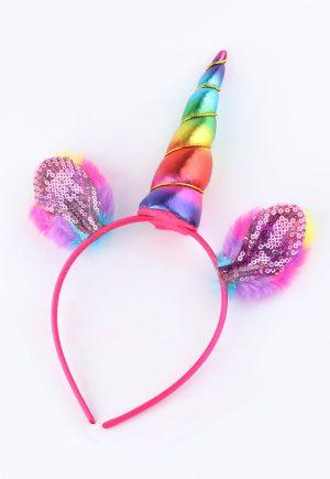 Eenhoorn unicorn haarband regenboog pluche