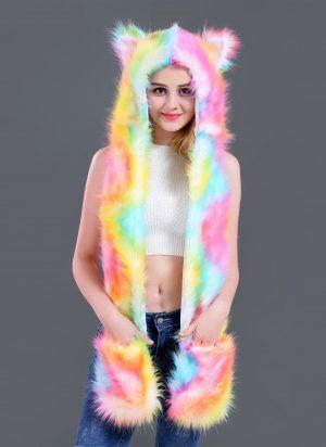 Gekleurde wolf muts oortjes wanten hood spirit regenboog