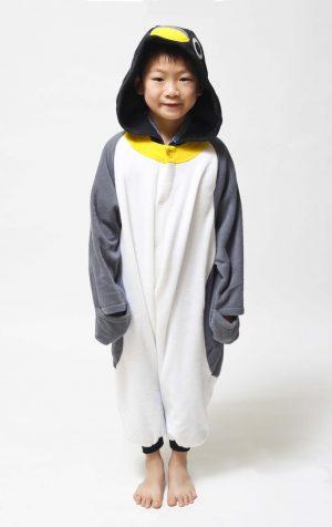Grijze Pinguin kinder onesie