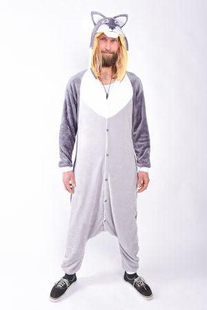 Grijze wolf onesie kostuum pak