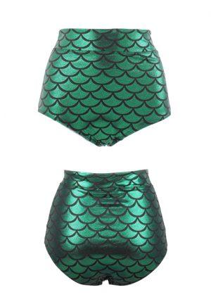 Groen zeemeermin bikini broekje mermaid hotpants high waist
