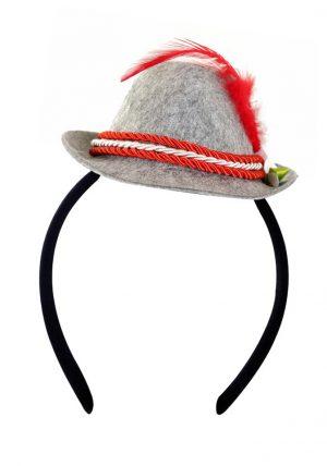 Haarband mini Tiroler hoedje grijs rood