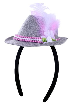 Haarband mini Tiroler hoedje grijs roze