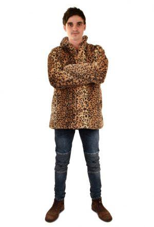 Heren bontjas panterprint jas luipaardprint