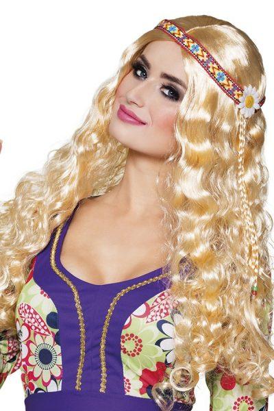 Hippie pruik blond met hoofdband