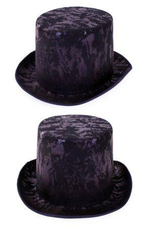 Hoge hoed zwart tophat steampunk fluweel one size