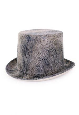 Hoge hoed grijs steampunk tophat one size