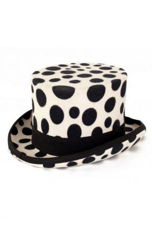 Hoge hoed wit dalmatier tophat