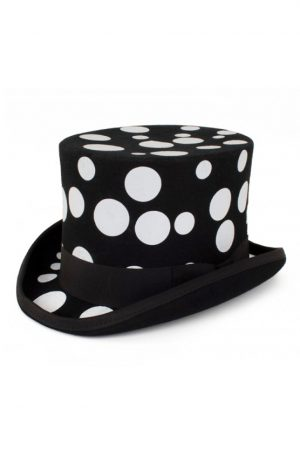 Hoge hoed zwart stippen tophat