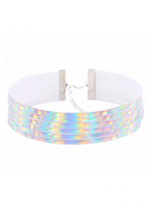 Iridescent choker halsband PVC streepjes