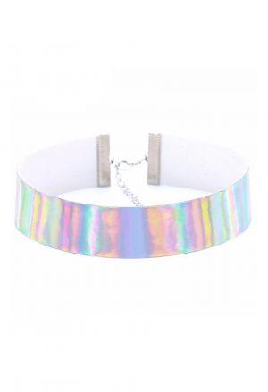 Iridescent holografische choker halsband