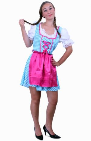 Korte Heidi Tirol Dirndl jurk blauw roze