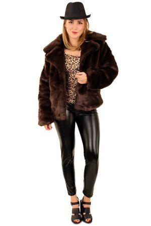 Korte bontjas bruin faux fur
