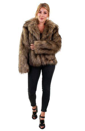 Korte bontjas bruin faux fur jas langharig