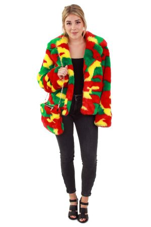 Korte bontjas rood geel groen reggae jas Limburg