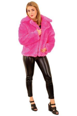 Korte bontjas roze faux fur