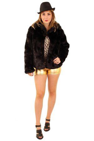 Korte bontjas zwart faux fur