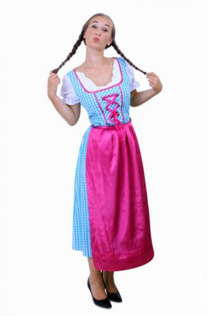 Lange Heidi Tirol Dirndl jurk blauw roze