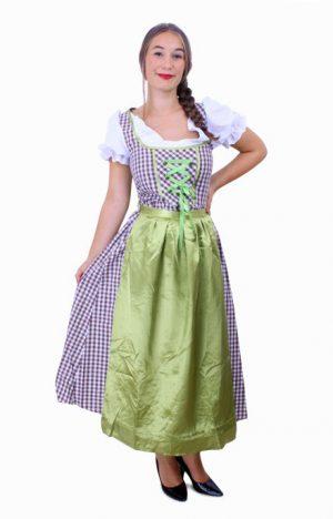 Lange Heidi Tirol Dirndl jurk bruin groen
