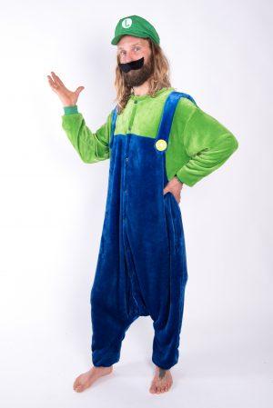 Luigi onesie kostuum pak