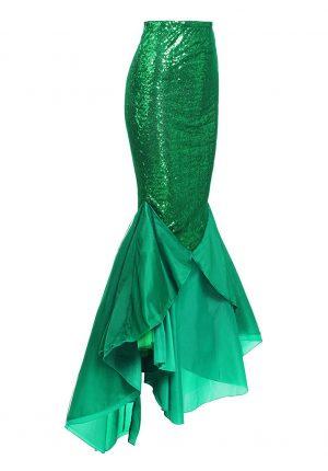 Lange zeemeermin rok groen pailletten
