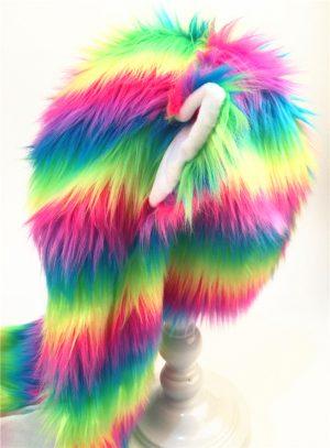 Neon wolf muts regenboog hood spirit