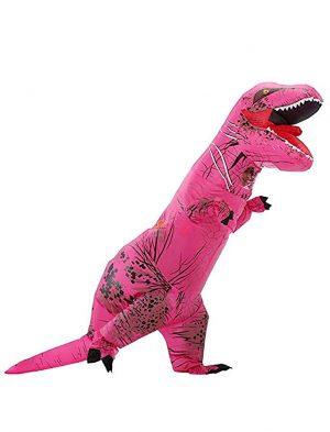 Opblaasbaar T-rex kostuum dino pak roze Jurassic World™