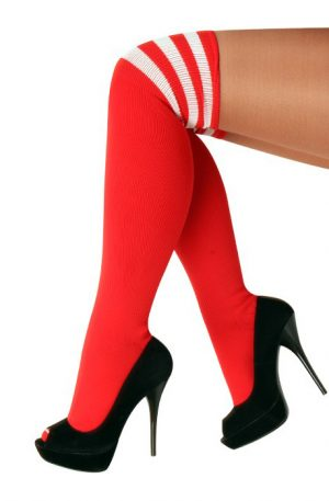 Lange sokken rood kniekousen witte strepen