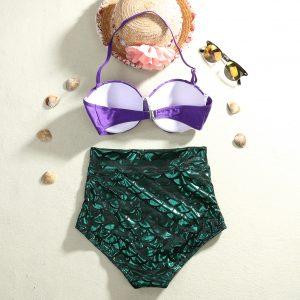 Paarse mermaid top zeemeermin bikini