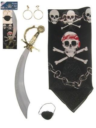 Piraat zwaard-zakdoek-ooglapje-oorringen