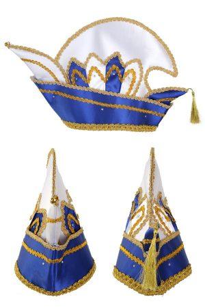 Prins Carnaval steek muts blauw goud