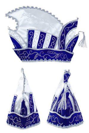Prins Carnaval steek muts blauw wit zilver