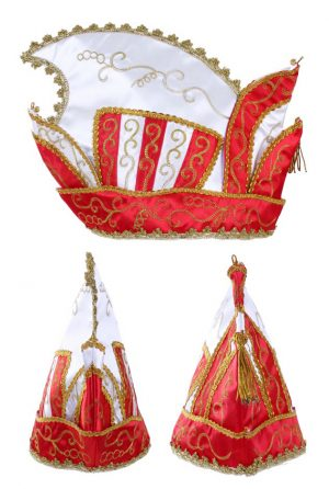 Prins Carnaval steek muts rood wit goud