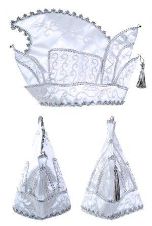 Prins Carnaval steek muts wit zilver