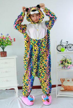Regenboog cheetah luipaard onesie pak kostuum rainbow