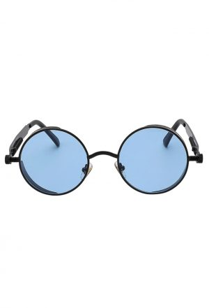 Ronde bril blauwe glazen hippie zonnebril