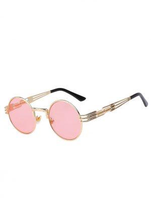 Ronde roze bril sixties heren steampunk