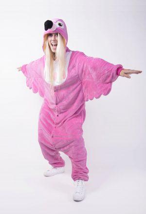 Roze Flamingo onesie pak