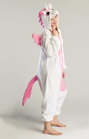 Roze Pegasus unicorn onesie eenhoorn pak