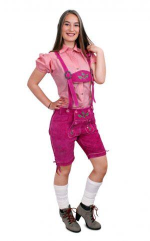 Roze lederhosen dames echt leer