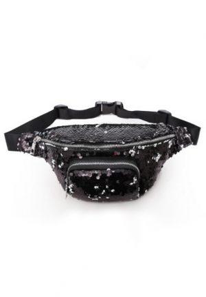 Sequin heuptas zwart zilver omkeerbare pailletten fanny pack heuptasje